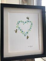 Bumble Bees, Forget Me Not Heart, Original Watercolour Painting, Original Art
