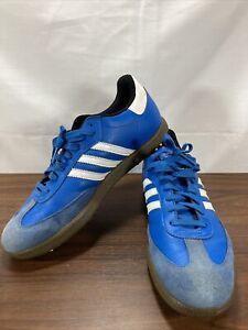 RARE Adidas Samba Golf shoe Size 11.5 Blue Leather Suede 671519 Mens Nice!