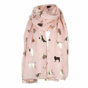 Womens Foil Cat Print Scarf Ladies Rose Gold Pressed Wrap Shawl Girls Gift