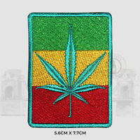 Rasta Weed Flag Sew on Iron on Patch Badge Embroidered For Clothes Bags etc