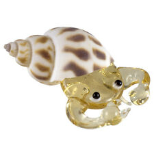 Miniature Hand Blown Glass Amber Hermit Crab In Natural Shell Figurine New!