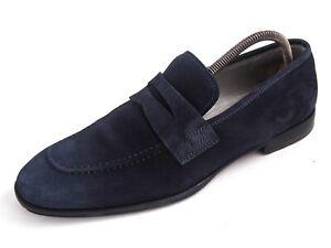 Cesare Paciotti Penny Loafer Blue Suede Mens Shoe Size EU 40.5 US 7.5