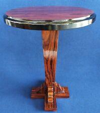 Petite Table Rond en Bois '900 Style Art Déco Ronce De Acajou - France Xx