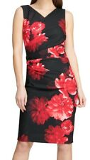 DKNY Womens Sheath Dress Black Red Size 10 Floral Pleated V-Neck $109- 307