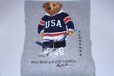 Polo Ralph Lauren BEAR HOCKEY USA Gray Sweatshirt Pullover Hoodie Sz X-Large XL