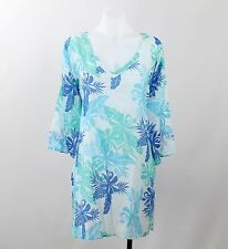 West Indies Yellow Blue White & Teal Leaf Print Long Sleeve Tunic Size Small