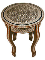 Handmade Moroccan Mother of Pearl Round Table