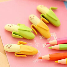 2* Lovely Banana Soft Rubber Pencil Erasers Safety Scented Gift for Student Kid