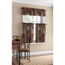 Polyester Small Home Kitchen Patchwork Design Decor Curtain Panel Valance Set