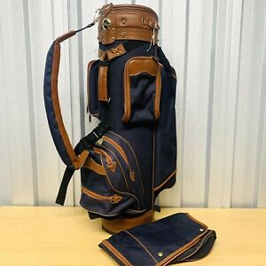 Knight Golf Vintage Style Cart Bag (Brown Leather/Blue Canvas) & Rain Cover VGC