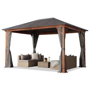 Gartenpavillon 3x4 m Holzoptik Eiche Pavillon Stahldach Hardtop 4 Seitenteile
