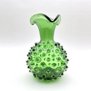 "Hand Blown Art Glass Green Hobnail / Spiked 7"" Vase"