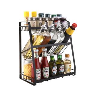 3 Tier Spice Rack Storage Kitchen Condiment Storage Cabinet Shelf Organizer