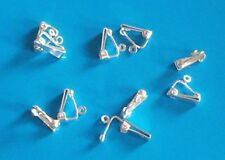 5 pairs of small, silver plated, clip on earrings, findings for jewellery making