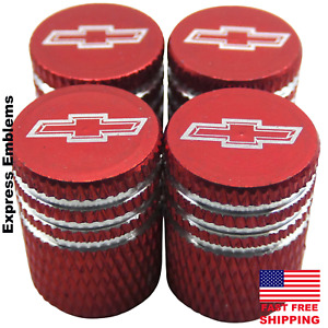 4x Chevy Chevrolet Tire Valve Stem Caps For Car, Truck Universal Fitting (RED)