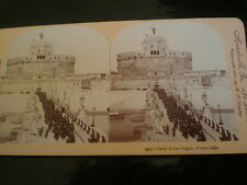 Old Stereoview photograph Castle of San Angelo Rome Italy by Keystone c1890s