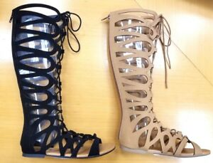 Women Summer Strappy Gladiator Cut Out Sandals Knee High Boots Flat Casual Shoes