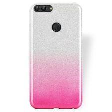 COVER Custodia Glitter GRADIENTE Morbida Silicone GEL per Huawei P-SMART Rosa