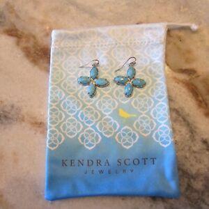 KENDRA SCOTT Turquoise Blue Tavi Quatrefoil Four Stone Vintage Earrings + Bag