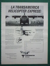 9/1985 PUB TRANSAMERICA AIRLINES SUPER HERCULES HELICOPTER EXPRESS FRENCH AD