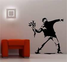 Banksy Style Fleur Mur Art Autocollant Vinyle graffiti