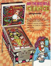 CHANCE By PLAYMATIC ORIGINAL 1978 SPANISH FLIPPER PINBALL MACHINE PROMO FLYER