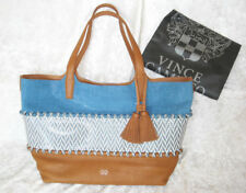 VINCE CAMUTO Edena TOTE BAG Blue Denim & Brown Leather Tassel NEW with TAGS $298