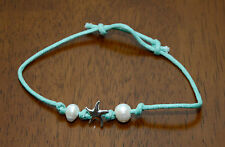 Adjustable Green Hand-Tied Silver Starfish Natural Pearl Anklet Body Jewelry