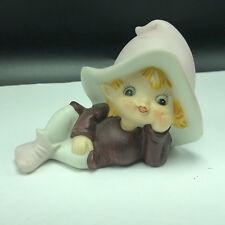 Vintage Elf Figurine 5213 pixie sprite violet purple hat lay down lefton homco