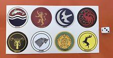 Game Of Thrones Vinyl Stickers Targaryen Lannister Stark Tully etc , 50mm round