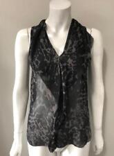 0a2f034d53d880 T.Babaton Black Print Silk Blouse Size XXS Chic