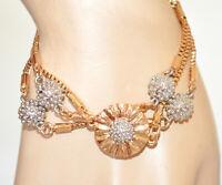 BRACCIALE ORO donna ciondoli girasole argento dorati multi fili elegante N53