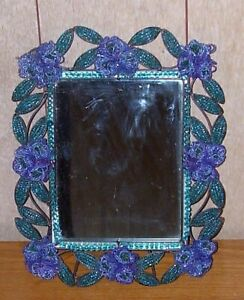 Vintage Beaded Standing Mirror..Adorned w/ Flowers & Leaves!!! Lovely..Good Cond