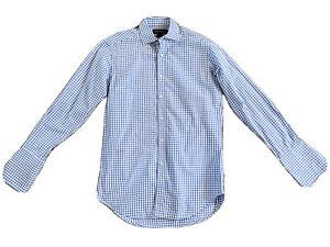 PURPLE LABEL RALPH LAUREN Blue/White Tattersall Dress Shirt 15 Italy NWOT