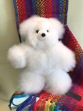"White Alpaca Fur Teddy Bear from Peru 10"" Soft Plush ""FREE SHIP & FREE GIFT*"