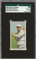 1909-11 T206 Red Kleinow With Bat Sweet Caporal 150 New York SGC 55 / 4.5 VG-EX+