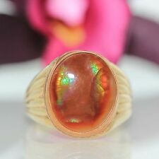 Estate 10k solid Yellow gold Natural oval Fire Agate solitaire ring band 6.1gr