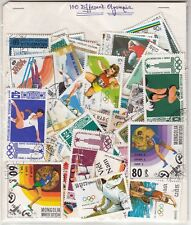 """OLYMPIC"" Theme wise CTO stamps pack of 100 Different ~~ Rare Theme {SPORTS}"