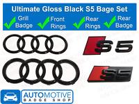 Audi S5 Gloss Black Badge Rings Grille Boot Kit Badge Emblem Set