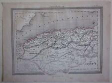 1864 CARTA DELL'ALGERIA map acquaforte Guigoni Doyen الجزائر Algérie Africa