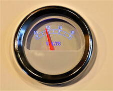 "Volt Meter Gauge 2""/52mm white face w/ chrome bezel Blue LED Lit"