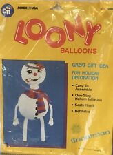 Vintage LOONY BALLOON Frosty Snowman Christmas Helium Inflation Refillable 1989