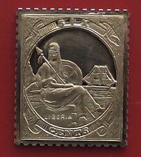 Plaqué or sur argent Stamp Design Lingot Liberia 6 cents liberty LIBERTE