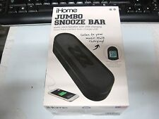 Ihome Im14bc Jumbo Snooze Bar Alarm Clock SPEAKER Usb Charging black NEW BLK
