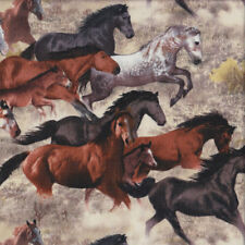 Running Horses Brown Grey Black Farm Animal Country Quilting Fabric FQ or Metre