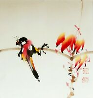 WANGZIXU signiert Aquarell auf Reispapier 35 x 35 cm Unikat Vögel