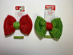 Boots & Barkley Knit Collar Slide Unisex Green & Red 2 Bow ties