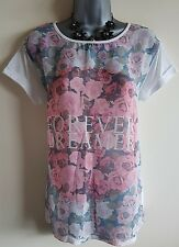 ASize 12 Top Pink White Black Sheer Floral DREAMER Great Condition Women's Casua