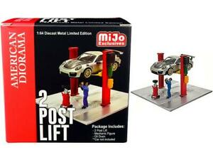 Two Post Lift (Red) w/Mechanic & Oil Drainer 1:64 Model - American Diorama 38375