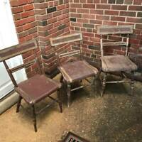 Set of 3 ca 1840 Antique Primitive Farmhouse Kitchen Windsor Dining Side Chairs